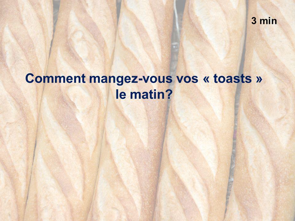 3 min Comment mangez-vous vos « toasts » le matin?