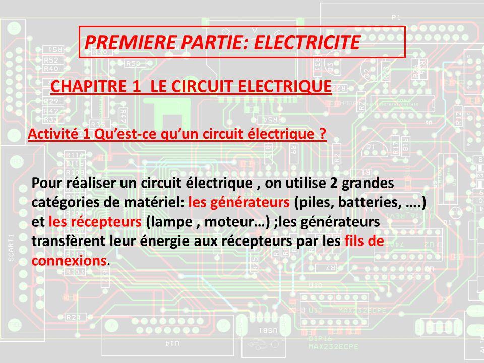 PREMIERE PARTIE: ELECTRICITE CHAPITRE 1 LE CIRCUIT ELECTRIQUE Activité 1 Quest-ce quun circuit électrique ? Pour réaliser un circuit électrique, on ut