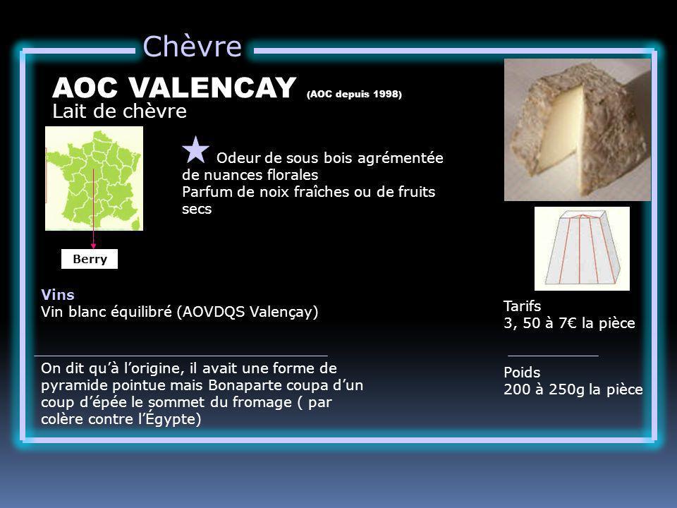 Chèvre Lait de chèvre AOC VALENCAY (AOC depuis 1998) Odeur de sous bois agrémentée de nuances florales Parfum de noix fraîches ou de fruits secs Tarifs 3, 50 à 7 la pièce Poids 200 à 250g la pièce Vins Vin blanc équilibré (AOVDQS Valençay) On dit quà lorigine, il avait une forme de pyramide pointue mais Bonaparte coupa dun coup dépée le sommet du fromage ( par colère contre lÉgypte) Berry