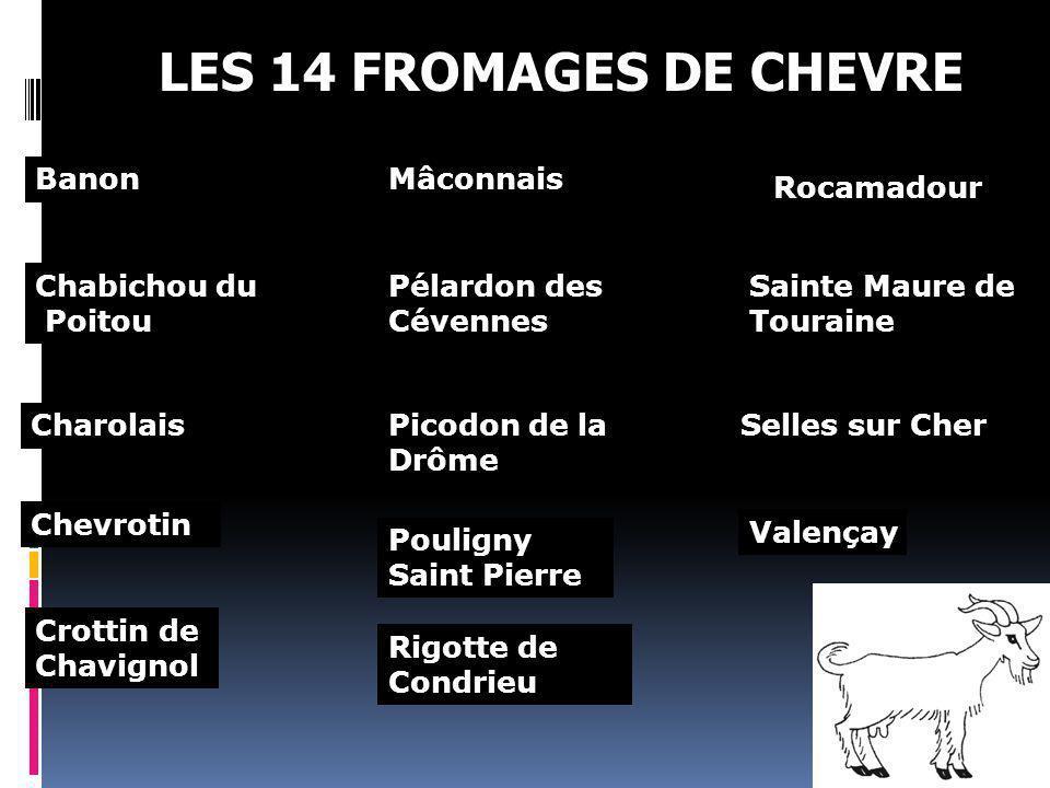 LES 14 FROMAGES DE CHEVRE Banon Chabichou du Poitou Chevrotin Crottin de Chavignol Mâconnais Pélardon des Cévennes Picodon de la Drôme Pouligny Saint
