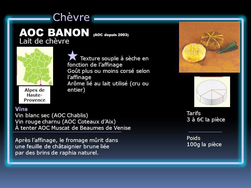 Chèvre Lait de chèvre AOC BANON (AOC depuis 2003) Texture souple à sèche en fonction de laffinage Goût plus ou moins corsé selon laffinage Arôme lié a