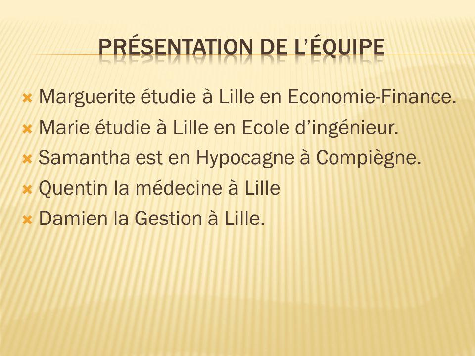 Marguerite étudie à Lille en Economie-Finance. Marie étudie à Lille en Ecole dingénieur. Samantha est en Hypocagne à Compiègne. Quentin la médecine à