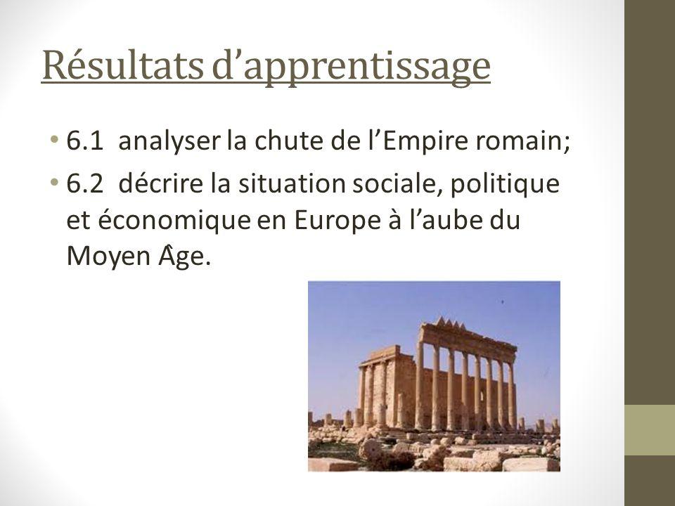 Résultats dapprentissage 6.1 analyser la chute de lEmpire romain; 6.2 décrire la situation sociale, politique et économique en Europe à laube du Moyen Âge.