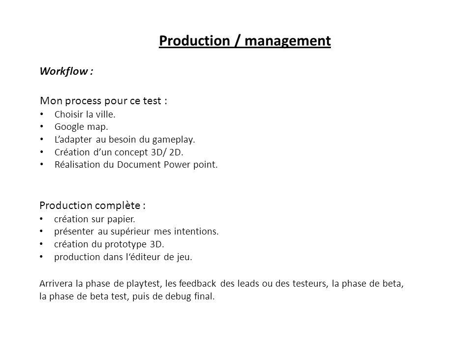 Production / management Mon process pour ce test : Choisir la ville. Google map. Ladapter au besoin du gameplay. Création dun concept 3D/ 2D. Réalisat