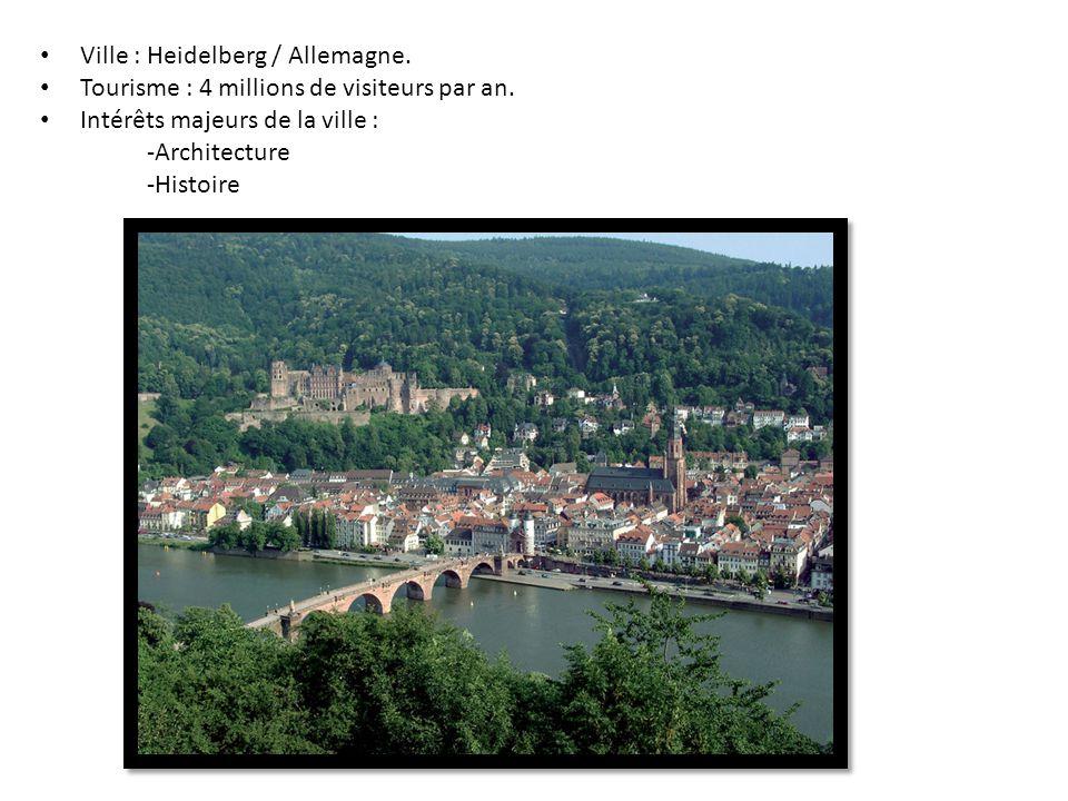 Ville : Heidelberg / Allemagne. Tourisme : 4 millions de visiteurs par an. Intérêts majeurs de la ville : -Architecture -Histoire
