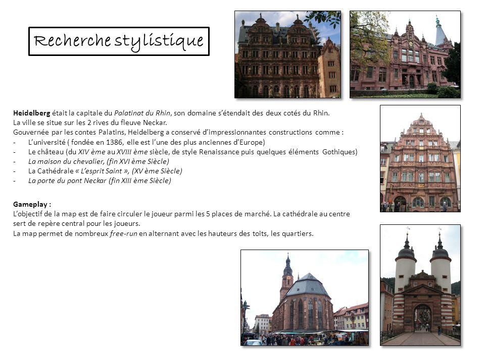Heidelberg était la capitale du Palatinat du Rhin, son domaine sétendait des deux cotés du Rhin. La ville se situe sur les 2 rives du fleuve Neckar. G