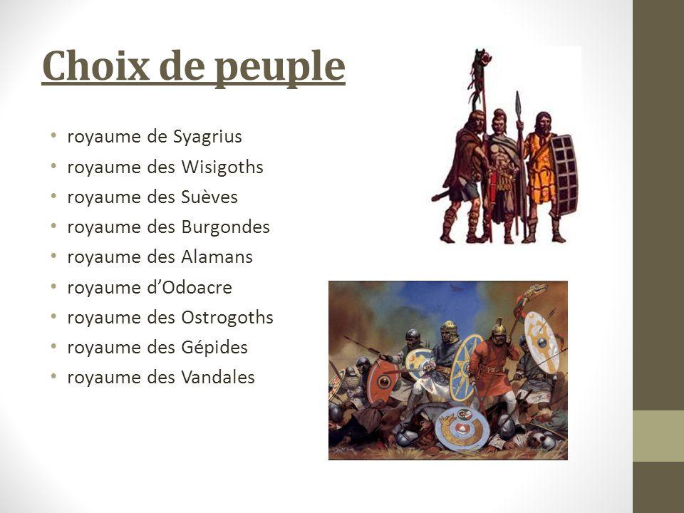 Choix de peuple royaume de Syagrius royaume des Wisigoths royaume des Suèves royaume des Burgondes royaume des Alamans royaume dOdoacre royaume des Ostrogoths royaume des Gépides royaume des Vandales