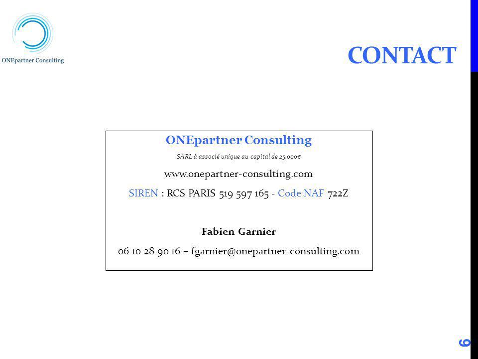 CONTACT ONEpartner Consulting SARL à associé unique au capital de 25.000 www.onepartner-consulting.com SIREN : RCS PARIS 519 597 165 - Code NAF 722Z F