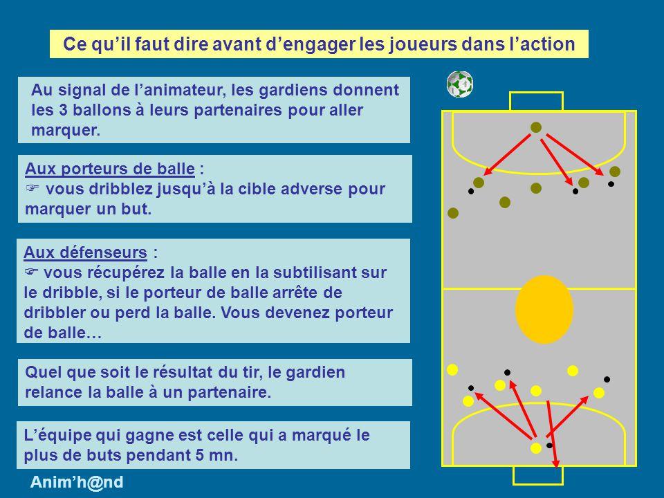 Aux porteurs de balle : vous dribblez jusquà la cible adverse pour marquer un but. Aux défenseurs : vous récupérez la balle en la subtilisant sur le d