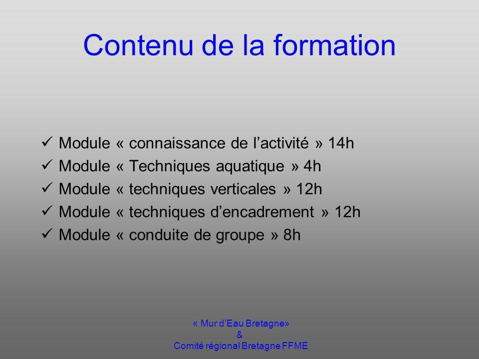 « Mur dEau Bretagne» & Comité régional Bretagne FFME Contenu de la formation Module « connaissance de lactivité » 14h Module « Techniques aquatique » 4h Module « techniques verticales » 12h Module « techniques dencadrement » 12h Module « conduite de groupe » 8h