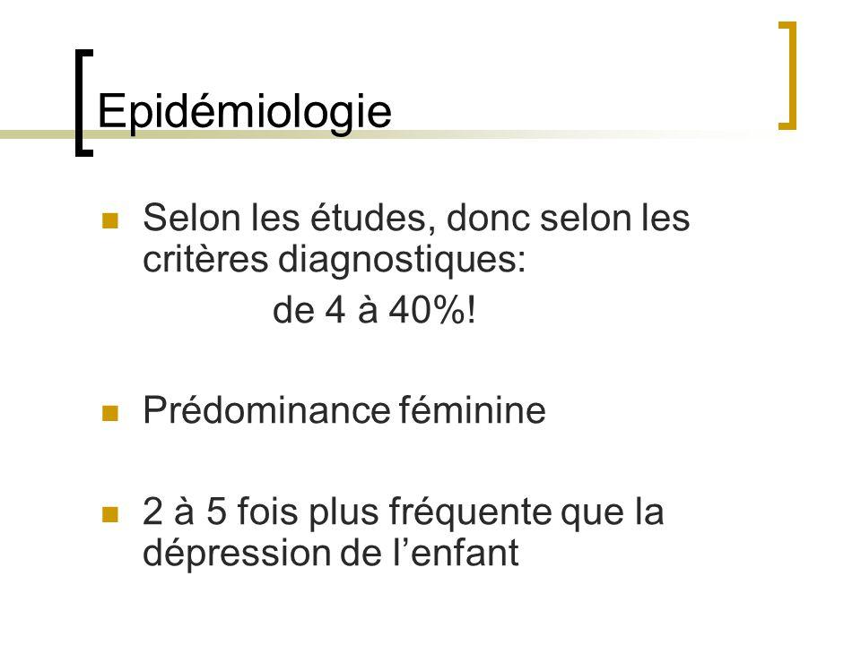 Epidémiologie Selon les études, donc selon les critères diagnostiques: de 4 à 40%! Prédominance féminine 2 à 5 fois plus fréquente que la dépression d