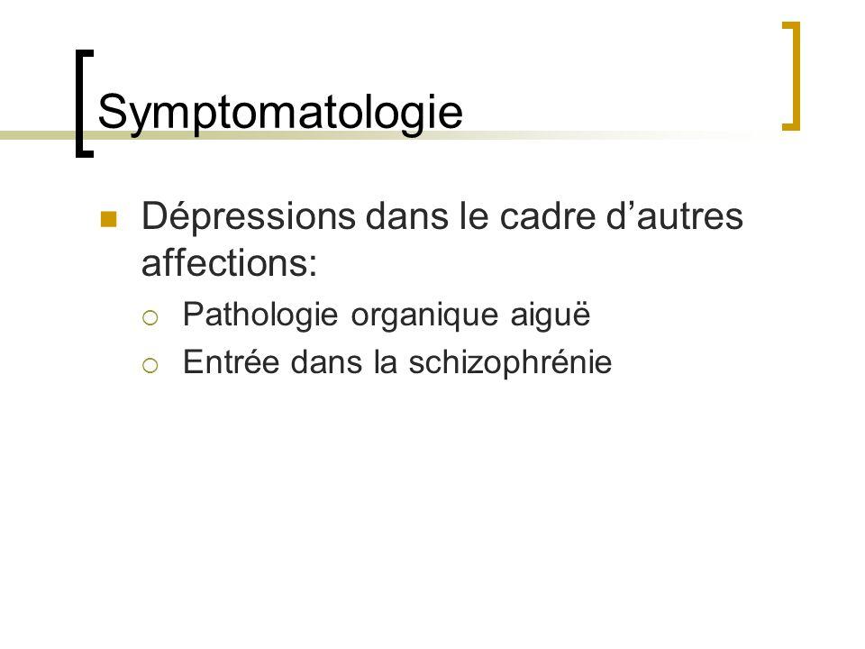 Symptomatologie Dépressions dans le cadre dautres affections: Pathologie organique aiguë Entrée dans la schizophrénie