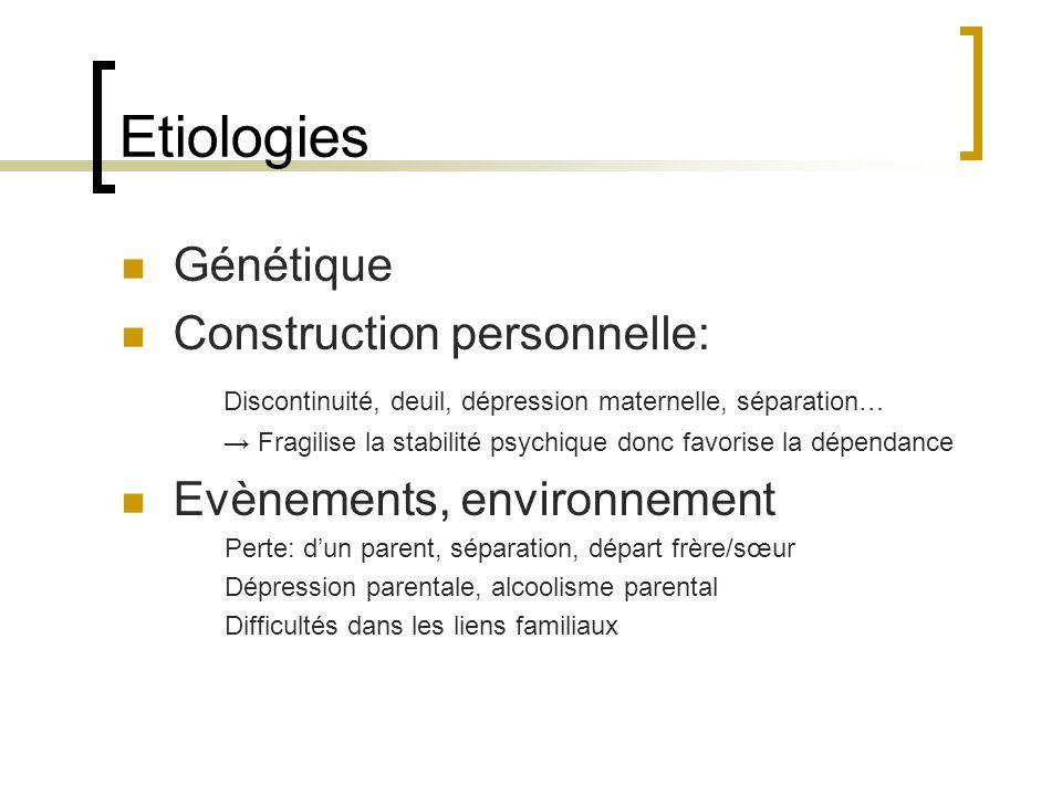 Etiologies Génétique Construction personnelle: Discontinuité, deuil, dépression maternelle, séparation… Fragilise la stabilité psychique donc favorise la dépendance Evènements, environnement Perte: dun parent, séparation, départ frère/sœur Dépression parentale, alcoolisme parental Difficultés dans les liens familiaux