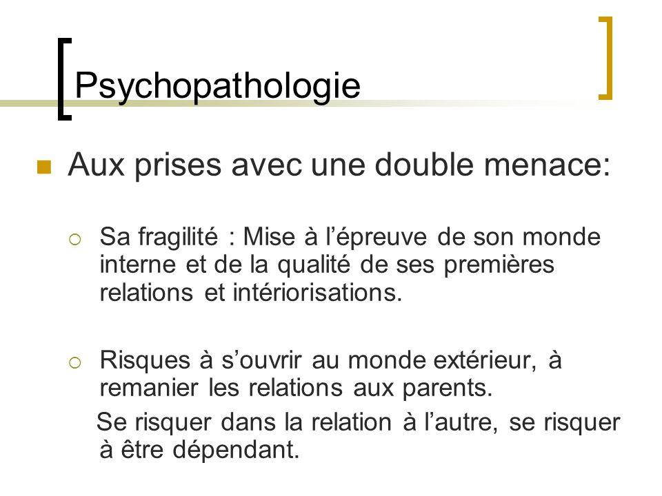 Psychopathologie Aux prises avec une double menace: Sa fragilité : Mise à lépreuve de son monde interne et de la qualité de ses premières relations et intériorisations.