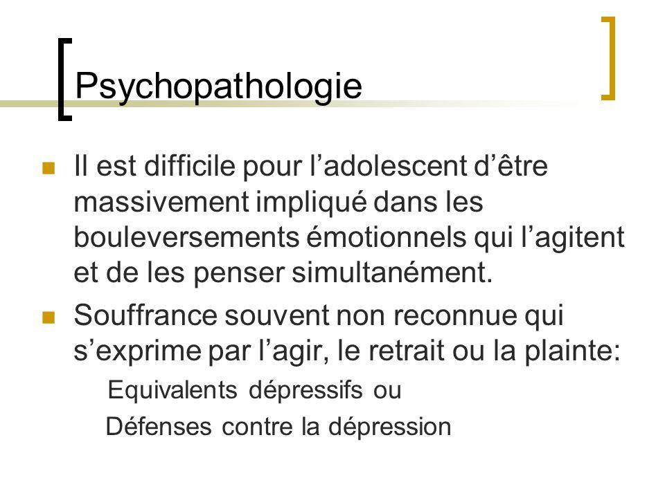 Psychopathologie Il est difficile pour ladolescent dêtre massivement impliqué dans les bouleversements émotionnels qui lagitent et de les penser simultanément.