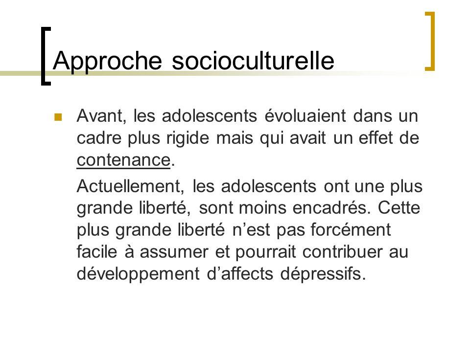Approche socioculturelle Avant, les adolescents évoluaient dans un cadre plus rigide mais qui avait un effet de contenance. Actuellement, les adolesce