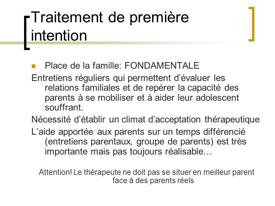 Traitement de première intention Place de la famille: FONDAMENTALE Entretiens réguliers qui permettent dévaluer les relations familiales et de repérer la capacité des parents à se mobiliser et à aider leur adolescent souffrant.