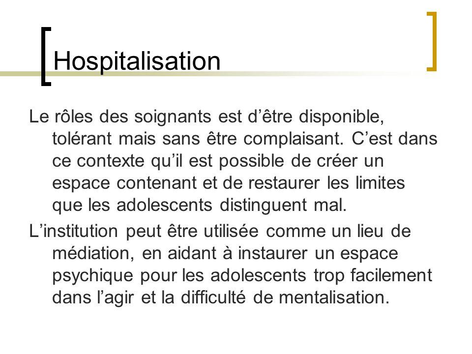 Hospitalisation Le rôles des soignants est dêtre disponible, tolérant mais sans être complaisant. Cest dans ce contexte quil est possible de créer un