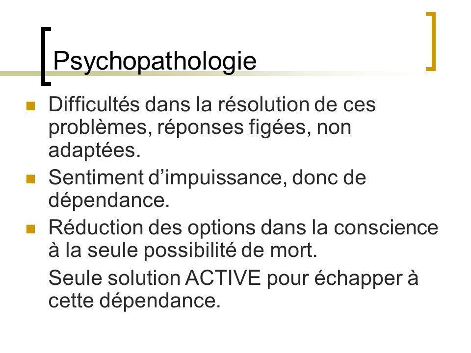 Psychopathologie Difficultés dans la résolution de ces problèmes, réponses figées, non adaptées. Sentiment dimpuissance, donc de dépendance. Réduction