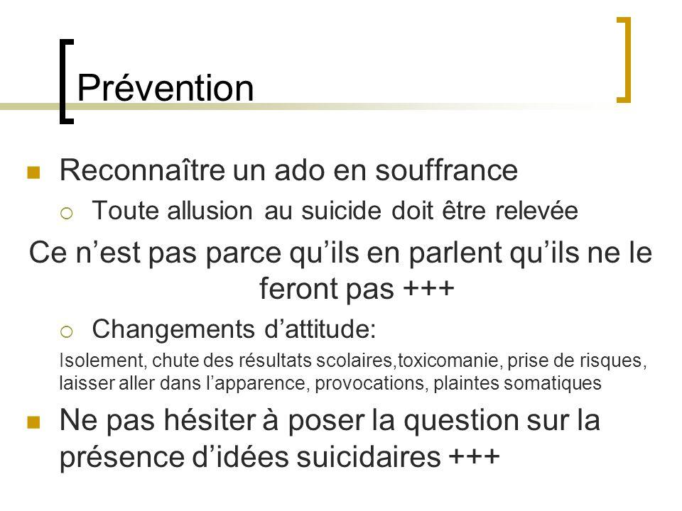Prévention Reconnaître un ado en souffrance Toute allusion au suicide doit être relevée Ce nest pas parce quils en parlent quils ne le feront pas +++