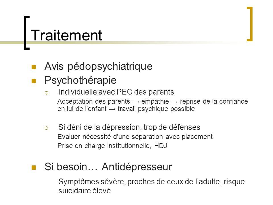 Traitement Avis pédopsychiatrique Psychothérapie Individuelle avec PEC des parents Acceptation des parents empathie reprise de la confiance en lui de