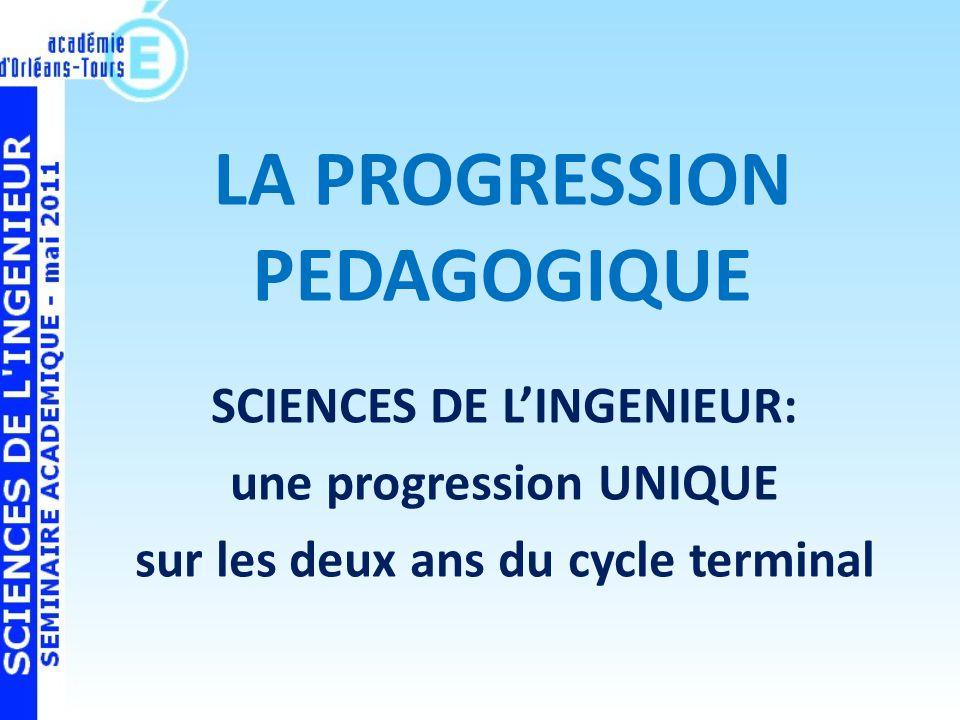 LA PROGRESSION PEDAGOGIQUE SCIENCES DE LINGENIEUR: une progression UNIQUE sur les deux ans du cycle terminal