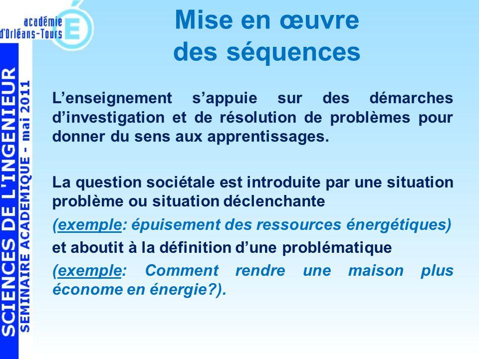 Mise en œuvre des séquences Lenseignement sappuie sur des démarches dinvestigation et de résolution de problèmes pour donner du sens aux apprentissages.
