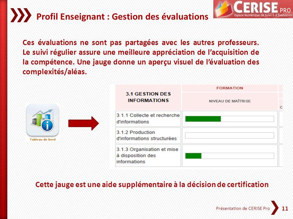 11 Présentation de CERISE Pro Profil Enseignant : Gestion des évaluations Ces évaluations ne sont pas partagées avec les autres professeurs. Le suivi