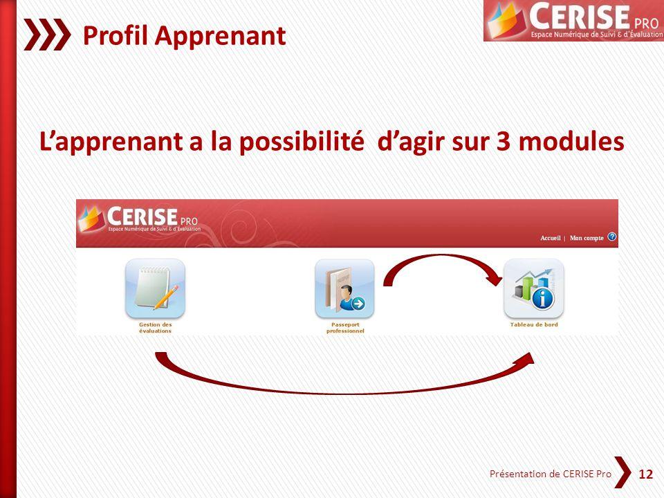 12 Présentation de CERISE Pro Profil Apprenant Lapprenant a la possibilité dagir sur 3 modules