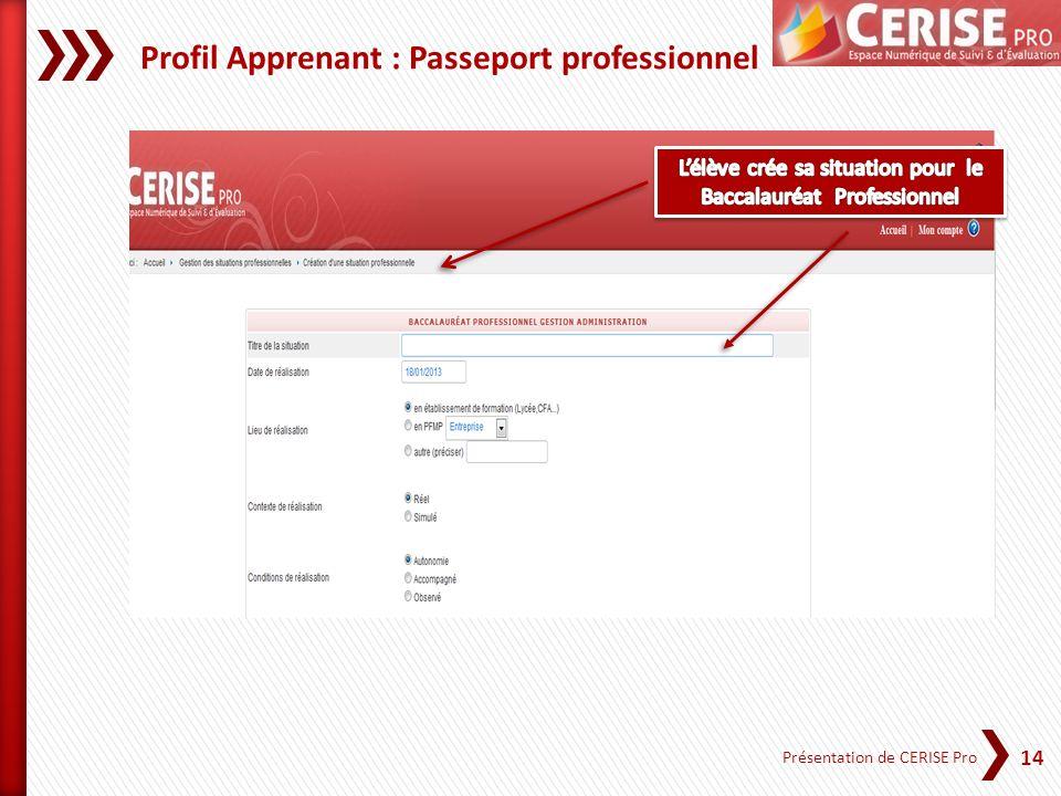 14 Présentation de CERISE Pro Profil Apprenant : Passeport professionnel