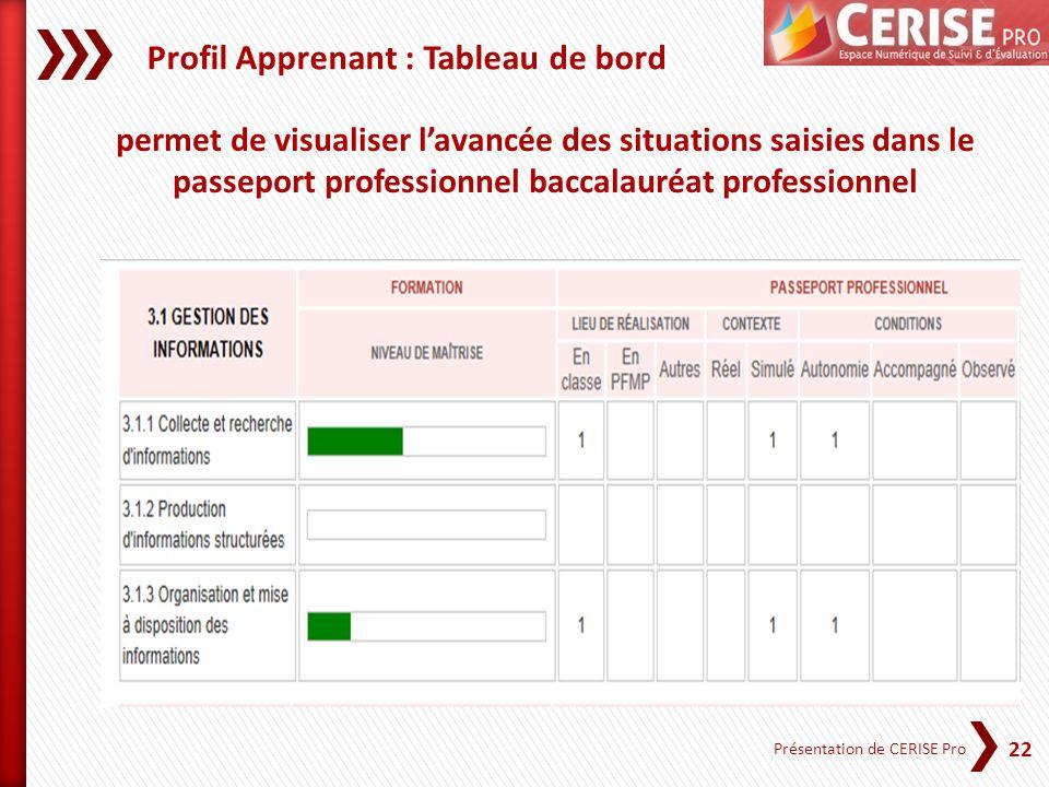 22 Présentation de CERISE Pro permet de visualiser lavancée des situations saisies dans le passeport professionnel baccalauréat professionnel Profil A