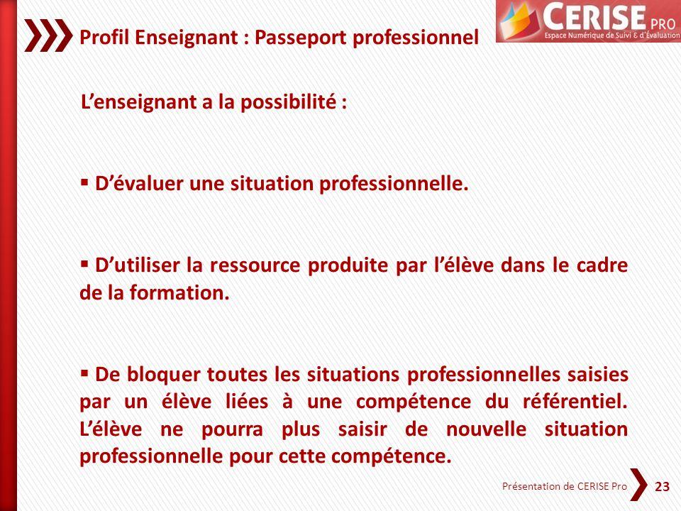 23 Présentation de CERISE Pro Profil Enseignant : Passeport professionnel Lenseignant a la possibilité : Dévaluer une situation professionnelle. Dutil