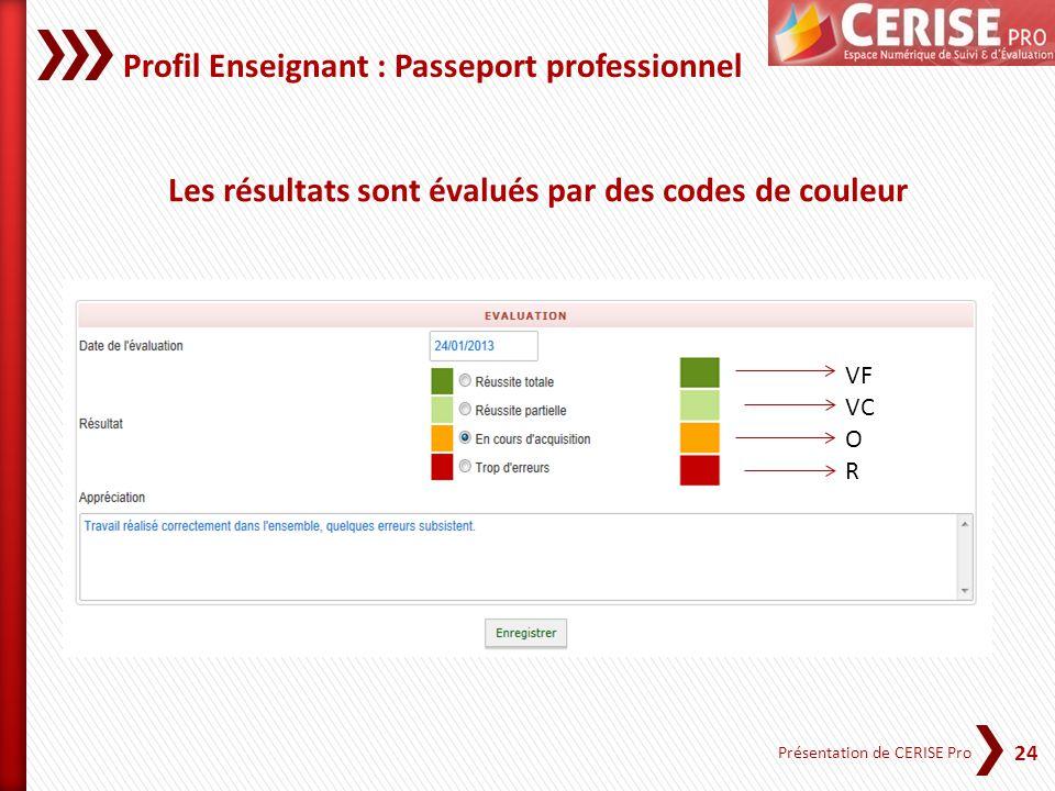 24 Présentation de CERISE Pro Les résultats sont évalués par des codes de couleur Profil Enseignant : Passeport professionnel VF VC O R