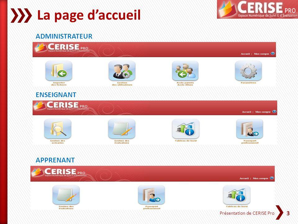 3 Présentation de CERISE Pro La page daccueil ADMINISTRATEUR ENSEIGNANT APPRENANT