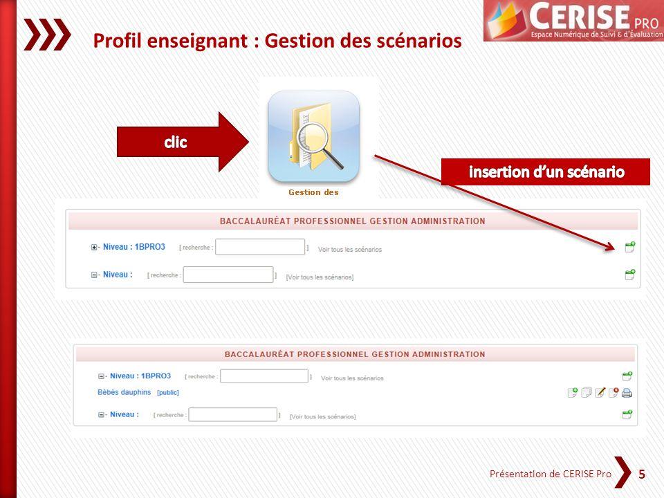 6 Présentation de CERISE Pro Profil Enseignant : Gestion des scénarios Créer, modifier et supprimer des scénarios