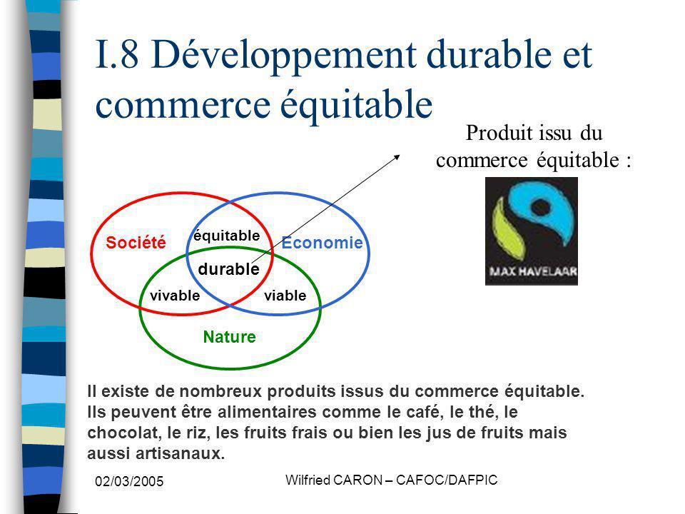 02/03/2005 Wilfried CARON – CAFOC/DAFPIC I.8 Développement durable et commerce équitable Nature SociétéEconomie vivableviable équitable durable Produit issu du commerce équitable : Il existe de nombreux produits issus du commerce équitable.