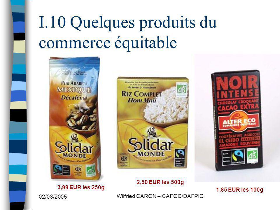 02/03/2005 Wilfried CARON – CAFOC/DAFPIC I.10 Quelques produits du commerce équitable 1,85 EUR les 100g 2,50 EUR les 500g 3,99 EUR les 250g
