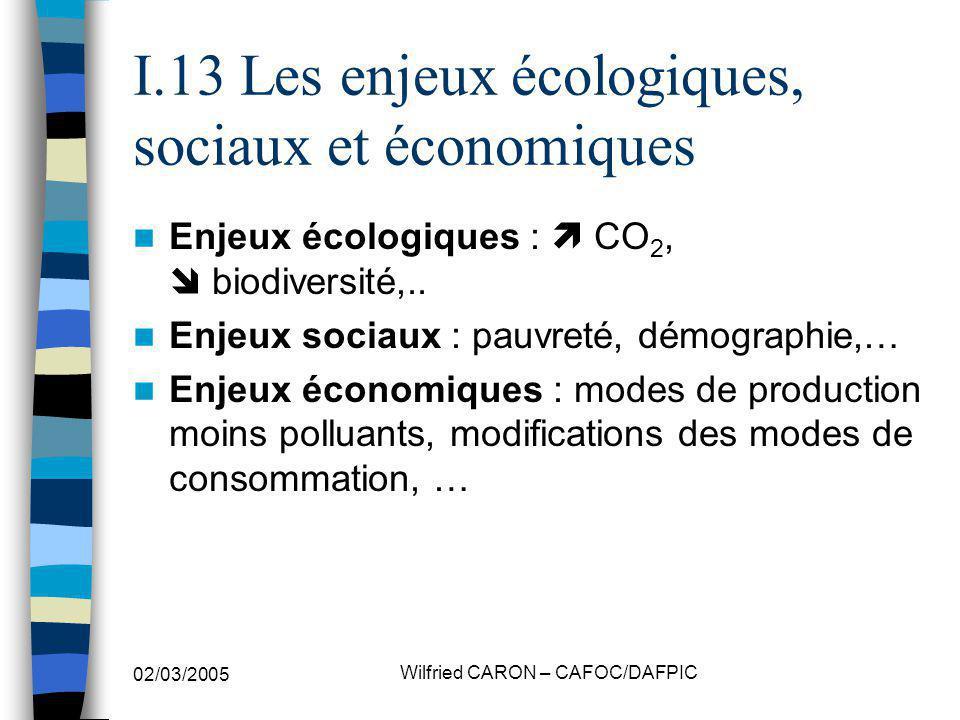 02/03/2005 Wilfried CARON – CAFOC/DAFPIC I.13 Les enjeux écologiques, sociaux et économiques Enjeux écologiques : CO 2, biodiversité,.. Enjeux sociaux