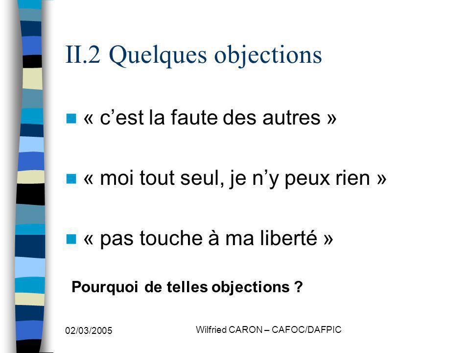 02/03/2005 Wilfried CARON – CAFOC/DAFPIC II.2 Quelques objections « cest la faute des autres » « moi tout seul, je ny peux rien » « pas touche à ma li
