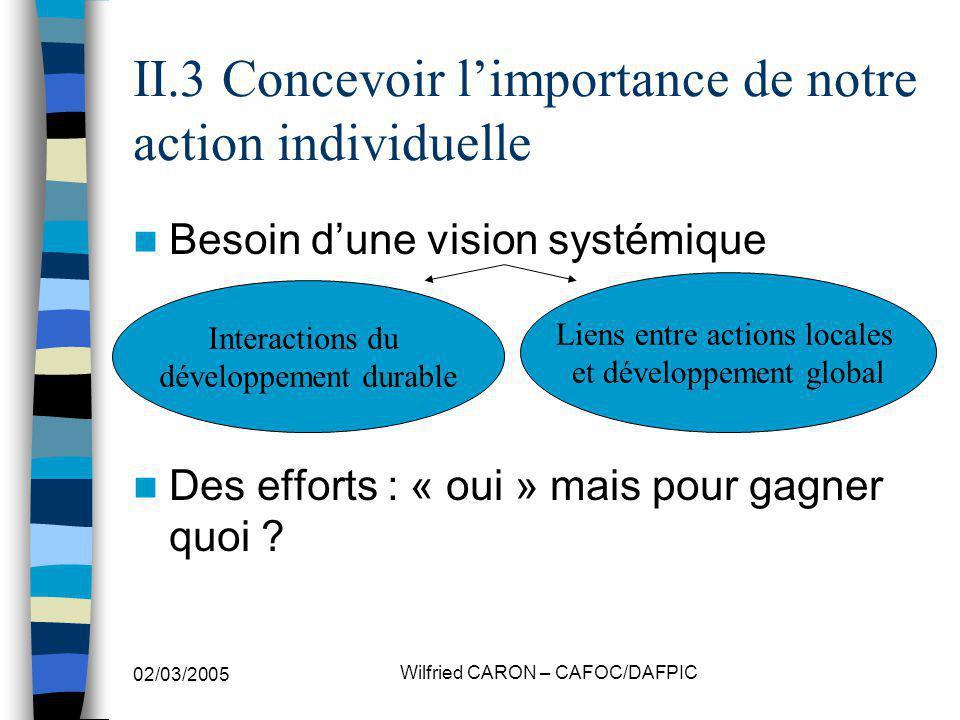 02/03/2005 Wilfried CARON – CAFOC/DAFPIC II.3 Concevoir limportance de notre action individuelle Besoin dune vision systémique Des efforts : « oui » m