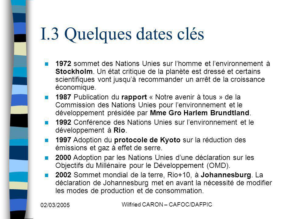 02/03/2005 Wilfried CARON – CAFOC/DAFPIC I.3 Quelques dates clés 1972 sommet des Nations Unies sur lhomme et lenvironnement à Stockholm.
