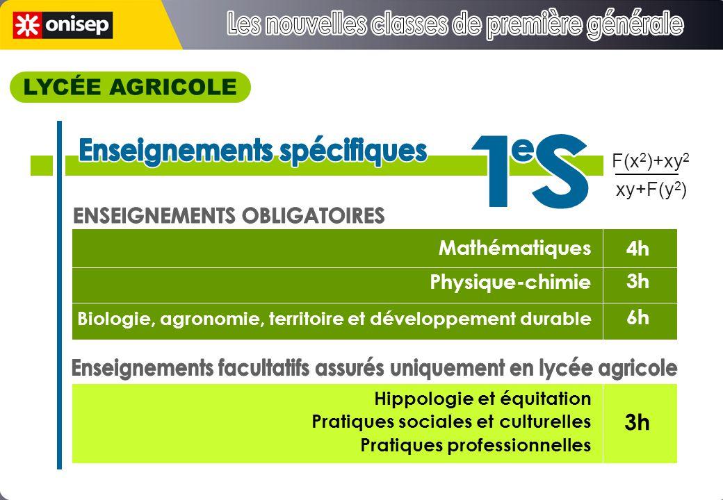 Mathématiques Physique-chimie Biologie, agronomie, territoire et développement durable Hippologie et équitation Pratiques sociales et culturelles Pratiques professionnelles 4h 3h 6h 3h F(x 2 )+xy 2 xy+F(y 2 ) LYCÉE AGRICOLE