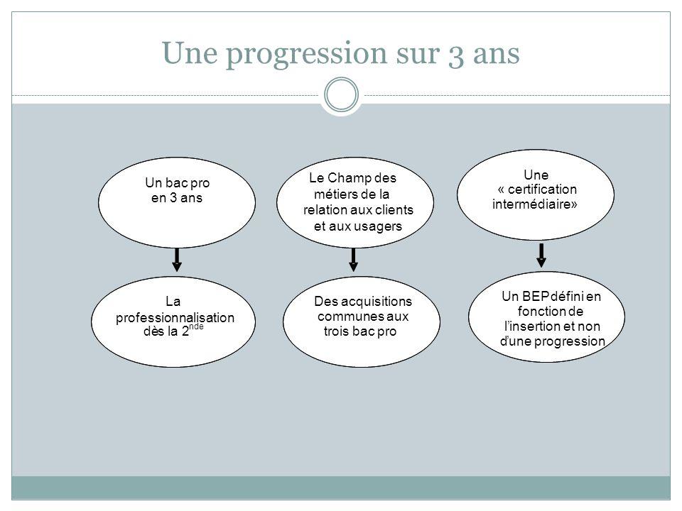 Une progression sur 3 ans Un bac pro en 3 ans La professionnalisation dès la 2 nde Des acquisitions communes aux trois bac pro Un BEP défini en foncti