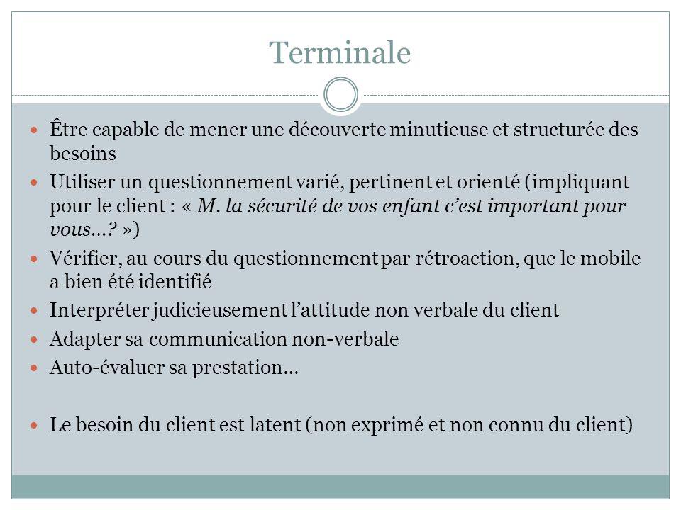 Terminale Être capable de mener une découverte minutieuse et structurée des besoins Utiliser un questionnement varié, pertinent et orienté (impliquant