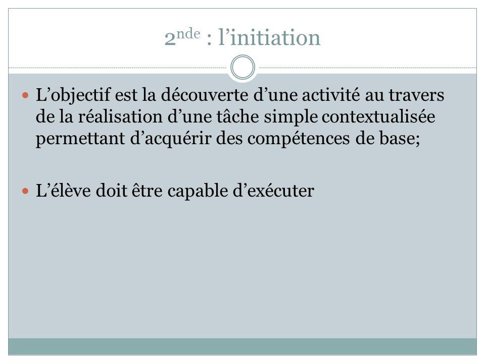 2 nde : linitiation Lobjectif est la découverte dune activité au travers de la réalisation dune tâche simple contextualisée permettant dacquérir des c