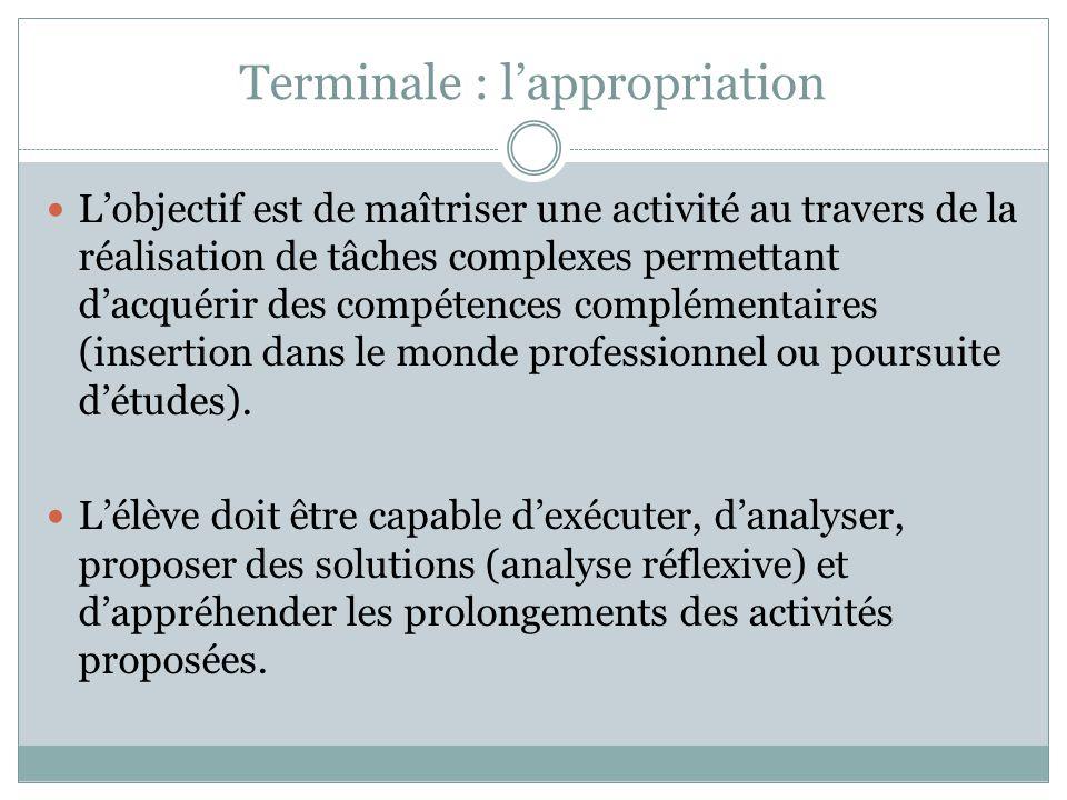 Terminale : lappropriation Lobjectif est de maîtriser une activité au travers de la réalisation de tâches complexes permettant dacquérir des compétenc