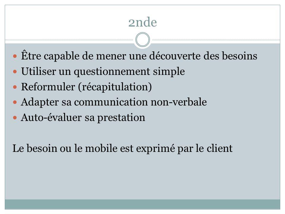 Être capable de mener une découverte des besoins Utiliser un questionnement simple Reformuler (récapitulation) Adapter sa communication non-verbale Au