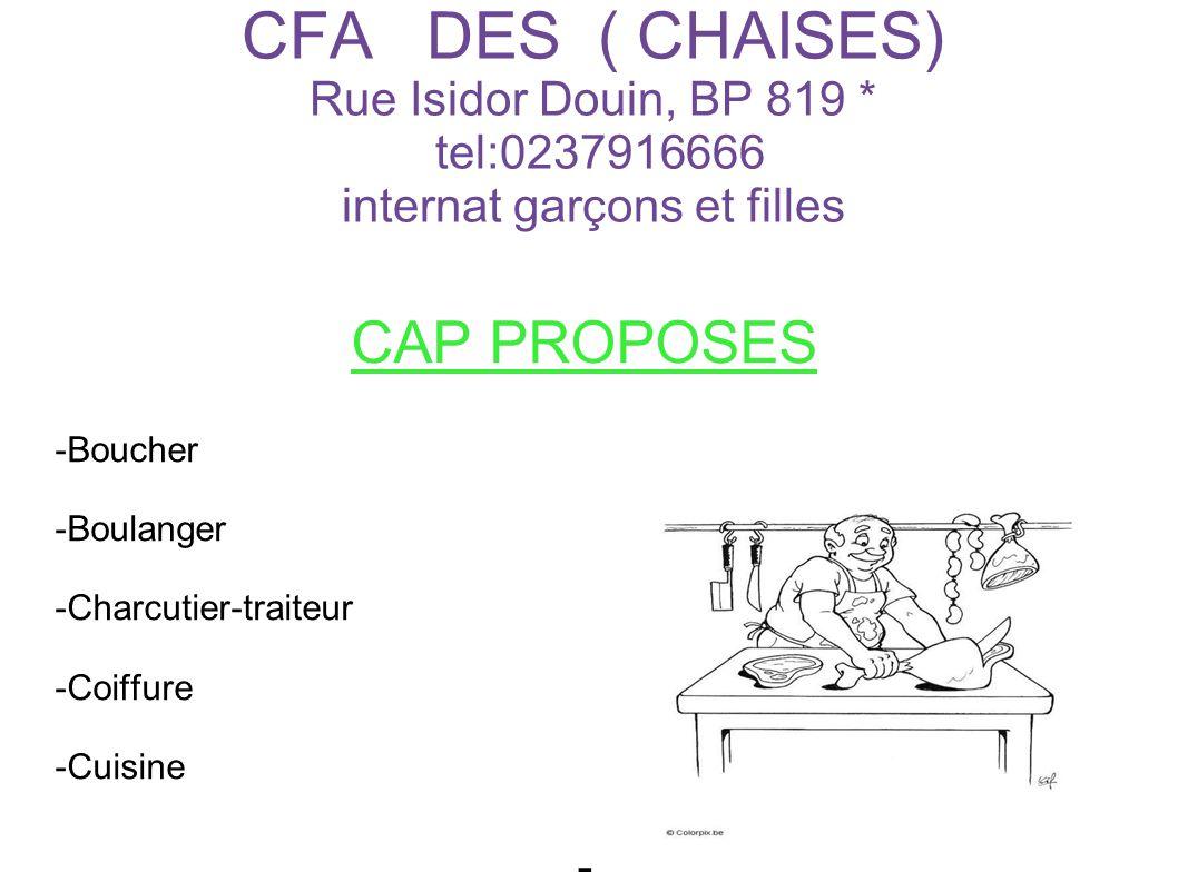 CFA DES ( CHAISES) Rue Isidor Douin, BP 819 * tel:0237916666 internat garçons et filles CAP PROPOSES -Boucher -Boulanger -Charcutier-traiteur -Coiffure -Cuisine -