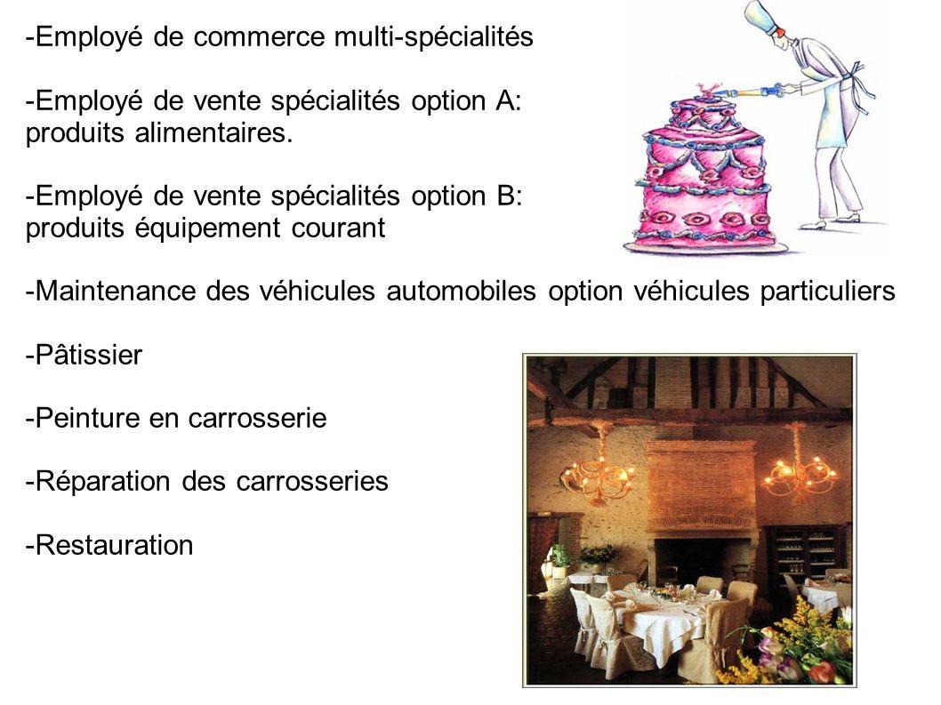 -Employé de commerce multi-spécialités -Employé de vente spécialités option A: produits alimentaires.