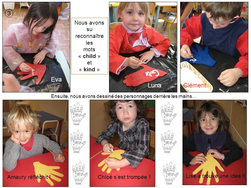 Ensuite, nous avons dessiné des personnages derrière les mains… 3 Eva LunaClément Nous avons su reconnaître les mots « child » et « kind » Amaury réfl
